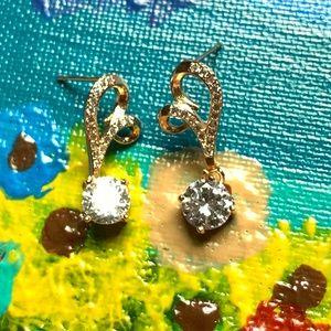 Gold Tone Clear Austrian Crystals Design Earrings